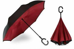 Siepasa Double Layer Inverted Umbrella Anti-UV w/ C-Shaped Handle Wine Red