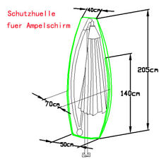 Ampelschirm Schutzhülle für Sonnenschirm Gartenschirm Ø4m Abdeckhaube, GM-AABF