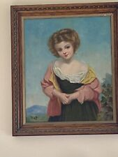 "ANTIQUE OIL PAINTING ON Canvas ""PORTRAIT OF YOUNG GIRL"" 1800-1900 circa"