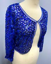 MANER Ladies Royal Blue SEQUIN SHRUG BOLERO SHEER JACKET Size M 12/14 Pre Owned