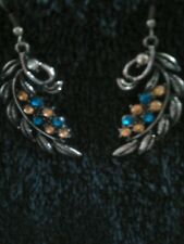 Fashion Leaf Design Earrings with Crystal Detail