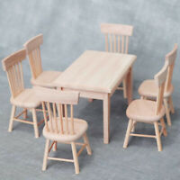 1:12 Dollhouse Miniature Furniture Wooden Dining Table with 6 Chair Model S YK