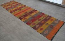 Turkish Rug Kilim Runner. Hand Woven Wool Tribal Kilim Hallway Rug - 37″ x 131″