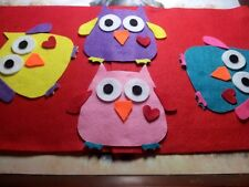 Felt die cut Owl applique toppers craft sewing
