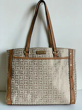 NEW! TOMMY HILFIGER BROWN GOLD STUDS SHOPPER SATCHEL TOTE BAG PURSE $89 SALE
