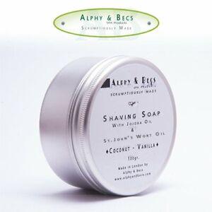 Alphy&Becs Shaving Soap With Coconut & Vanilla 100g HandMade In UK