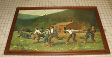 "Vintage WINSLOW HOMER ""Snap The Whip"" 14"" x 24"" Color Print in Glass Frame ~Nice"
