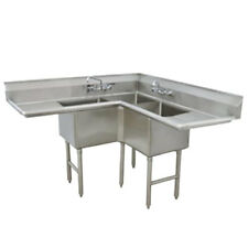 """Advance Tabco 3 Compartment Corner Sink 18""""x18""""x14"""" ; Bowl Two Drainboards"""