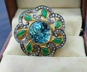 Natural Blue Topaz, Emerald, Diamond & 92.5 Sterling Silver Woman Ring Jewelry