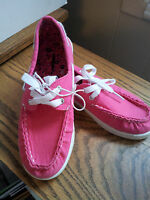 Girls-Size-1-M-Boat-Shoes-Pink-Textile-Slip-on-Fabric-Laces-Casual-Lightweight
