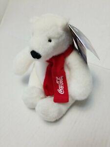 "2007 Coca Cola Plus stuffed Polar Bear Red Scarf 7"""