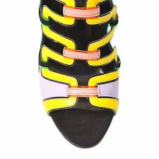 """NEW Pierre Hardy """"Kaliste"""" Multicolor Cut-Out Leather And Suede Sandals. Size 40"""