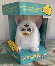 Vtg 1999 Tiger Electronics Furby Babies White W/ Pink Ears Baby Mint