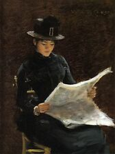 William Merritt Chase The Morning News Oil Painting repro