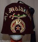 Masonic Shriners Fez Hat Al Malaikah Pin Rhinestones Jeweled Double Sword Case