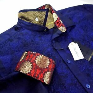 Robert Graham Maharaja NWT Limited Edition Blue Embroidered Print L Large