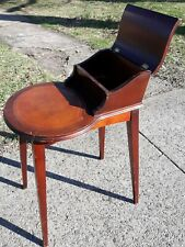 Vintage Mid Century Mahogany Wood Cigar Smoking Accent Side Table retro deco art