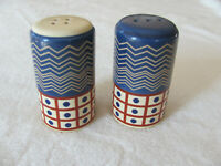 Pfaltzgraff Timbuktu-Geometric/Leaf Pattern Blue & Brown- Salt & Pepper Shakers