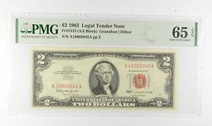 1963 $2 FR1513 (AA Block) Red Seal Graded PMG - 65 EPQ Legal Tender *799