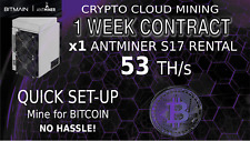 CLOUD MINING Contract 56 TH/s Bitmain S17 Antminer Rental Bitcoin HASHING Lease