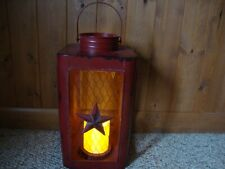 Country new large Red Tin Star new Led Candle Lantern
