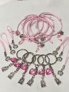 Princess Party Bag Fillers Friendship Bracelets Cords & Keyrings X 18 Pieces