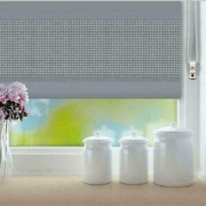 Blinds Plain Silver Poly-Fabric Diamante Eyelet Roller Blinds Easy Fit 60x120cm