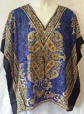 Women' Clothing Poncho Dashiki Top Blouse Tunic Cover up Boho Free Size Blue