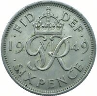 1949 SIXPENCE UNC - KING GEORGE VI  GREAT BRITAIN COIN COLLECTIBLE    #WT21981