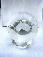 """World Globe Earth Orb Crystal Glass Clear Frosted Paperweight No Stand 4"""" Diamtr"""