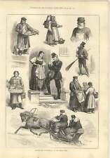 1874 San Pietroburgo Donna vendita uova GATTO Sweep maidservants Sledge postino