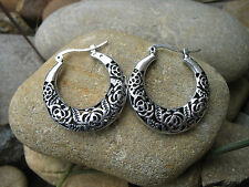 Bohemian Vintage Tribal Gypsy Retro Exotic Tibetan Silver Crescent Earrings