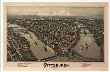 Pittsburgh Pennsylvania, Map Panoramic View Bird's Eye Aerial -- Modern Postcard