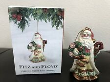Fitz & Floyd Santa with Wreath Ornament 2001 Collectible Christmas Ornament