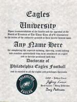 PHILADELPHIA EAGLES NFL FAN ~CERTIFICATE~DIPLOMA ~MAN CAVE~OFFICE #1 FUN GIFT