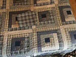 New Bag VHC Quilt Navy Beige Plaid Back Navy Handmade King & Pillow Cases