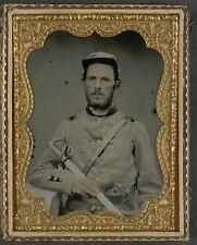 Photo Civil War Confederate North Carolina Uniform With Sword and Revolver
