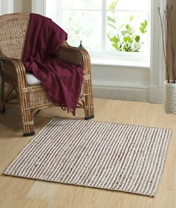 CHAKKAR PALE Stripe Braided Jute Square Rug Medium Large Extra Large