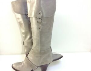 Grey Womens Pied A Terre Calf Boots Size 6.5