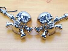 Chrome Skull Bone LED Turn Signal Light for Harley Yamaha Suzuki Kawasaki Honda
