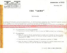 MOTOBECANE 125 Luxe : Note N°10103 'Eclairage' MOTOCONFORT