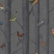 Epping Oiseaux sur Branches Papier Peint - Gris Foncé - Holden 12230 Papillons