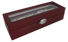 6er Uhrenbox Uhrenkoffer Uhrenkasten mit Sichtfenster in ROT