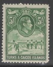 TURKS & CAICOS IS. SG204a 1944 5/= DEEP GREEN MTD MINT