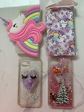 I Phone 8 Case Cover Bundle X 4 Glitter Pink Eyelashes Xmas Unicorn