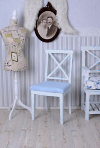 Chair Dining Maritime Wooden Country House Vintage Upholstered Stripes