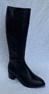 BNIB Clarks Ladies Brooklyn Sky GTX Black Leather Knee High Gore Tex Boots