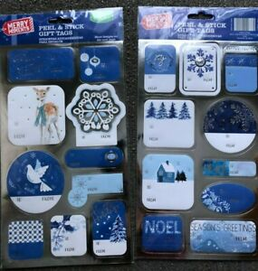50 Peel & Stick Merry Christmas Holiday Gift Tags FREE SHIP Noel Joy Peace Snow