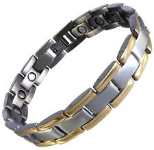 Gold and Silver Titanium Bracelet with Therapeutic Magnets in Black Velvet Box