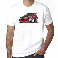 WickedArtz Cartoon Red Nissan Sunny GTi-R Car Mens 100% Cotton White T-Shirt